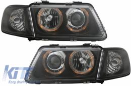 Headlights Audi A3 8L (09/1996-08/2000) Angel Eyes Black LHD/RHD - SWA03DB