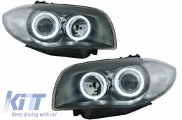 headlights BMW 1er E87 04-07 _ 2 halo rims _ chrome