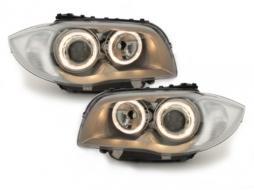 headlights BMW 1er E87 04-07_2 halo rims_chrome