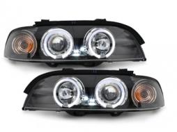 headlights BMW E39 5 Series 95-00 _ 2 halo rims_ black