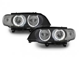Headlights BMW X5 E53 04-06 2 halo rims black  - SWB10ADB