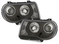 headlights Chrysler 300C 04-08 _ 2 halo rims _black