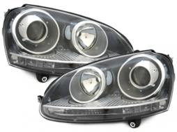 Headlights DEPO suitable for VW Golf V 5 (2003-2009) Jetta (2003-2009) GTI Look Black LHD