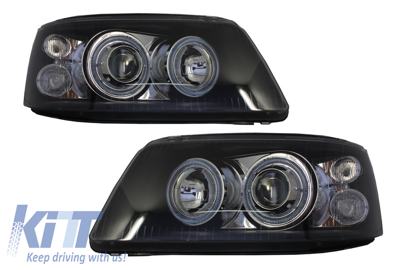 Headlights Dual Halo Rims suitable for VW Transporter T5 (2003-2009) Angel  Eyes Black