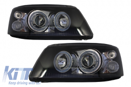 Headlights Dual Halo Rims Volkswagen VW Transporter T5 (2003-2009) Angel Eyes Black - LPVWE5