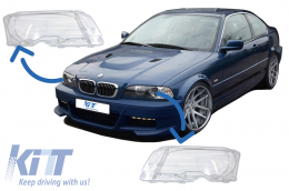 Headlights Glases suitable for BMW E46 Coupe Cabrio (1998-2003) - HGBME462D