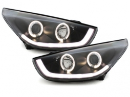 Headlights LED Angel Eyes Hyundai IX35 (2010-2013) Black TUBE LIGHT