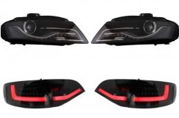 Headlights LED DRL Audi A4 B8 8K (2008-2011)  BLACK with LED Taillights Avant Black/Smoke