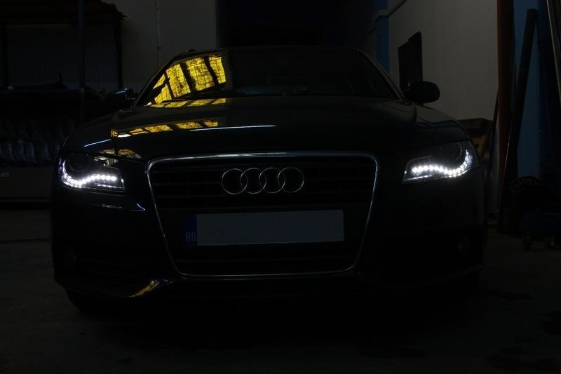 Headlights LED DRL Audi A B K BLACK With LED - 2018 audi a4 headlights