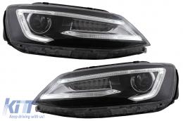 Headlights LED DRL Dual Beam Lens suitable for VW Jetta Mk6 VI (2011-2017) RHD Bi-Xenon Design with Dynamic Turn Signals Black Housing - HLVWJ6RHD