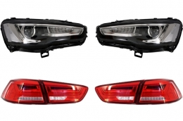 Headlights LED DRL Mitsubishi Lancer EVO X (2007-2017) Dual Projector Sequential with LED Taillights Red/Clear