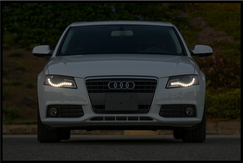 Headlights Led Drl Suitable For Audi A4 B8 8k 2008 2011 Black With Led Taillights Avant Black Smoke