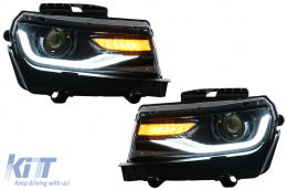 Headlights LED DRL suitable for Chevrolet Camaro (2014-2015) Sequential Amber Dynamic Turning Lights Conversion to 2016 Look - HLCHECAMARO