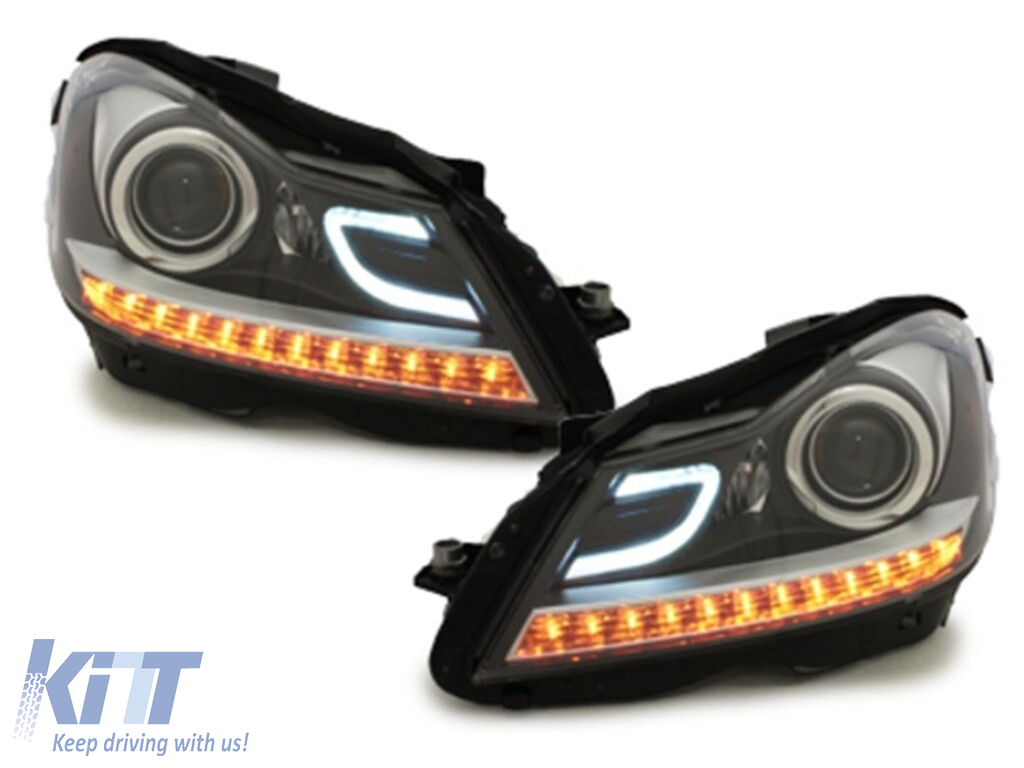 Headlights LED DRL suitable for MERCEDES Benz W204 S204 C-class Facelift  (2011-2014) Black