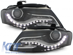 Headlights LED suitable for AUDI A4 B8 8K (2008-2011) with Daytime Running Lights Black