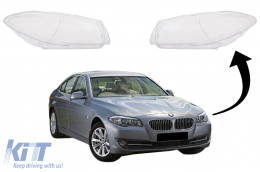 Headlights Lens Glasses suitable for BMW 5 Series F10 F11 F18 (2010-2017) Clear Glass Optics - HGBMF10