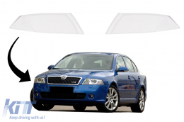 Headlights Lens Glasses suitable for SKODA OCTAVIA II (1Z) (2004-2008) Clear Glass Optics - HGSKO2