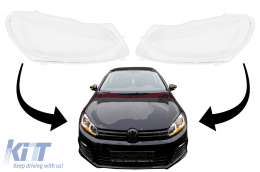 Headlights Lens Glasses suitable for VW Golf 6 VI Mk6 (2008-2014) Clear Glass Optics - HGVWG6