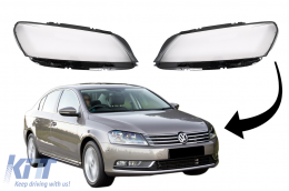 Headlights Lens Glasses suitable for VW PASSAT B7 Sedan (2010-2014) Clear Glass Optics - HGVWPA3C