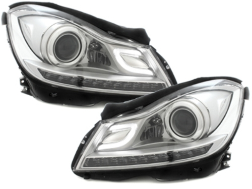 Headlights mercedes benz w204 c class facelift 2011 chrom for Mercedes benz c300 headlights