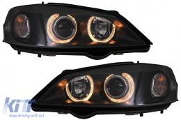 headlights Opel Astra G 98-04 _ 2 halo rims _ black