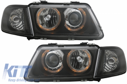 Headlights suitable for AUDI A3 8L (09/1996-08/2000) Angel Eyes Black LHD/RHD - SWA03DB