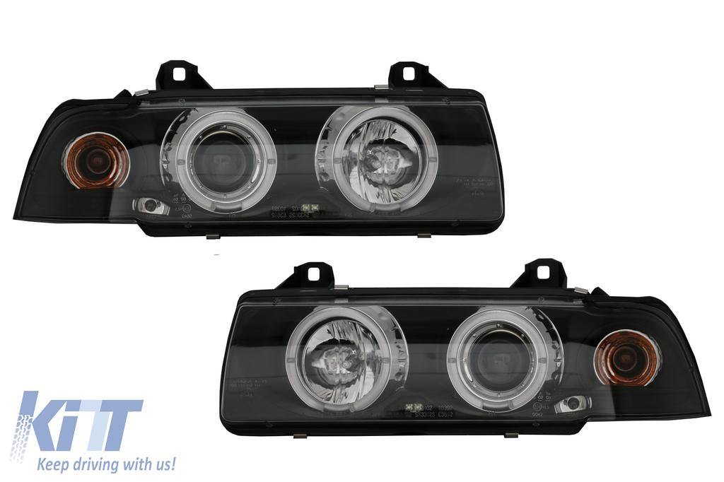 Headlights Suitable For Bmw E36 1990 1999 Angel Eyes Black Carpartstuning Com