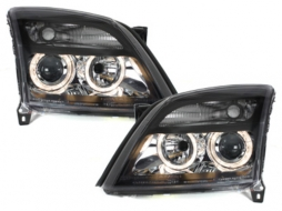 Headlights suitable for OPEL Vectra C  (2002-08.2005) 2 Halo Rims Black