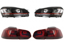 Headlights suitable for VW Golf 6 VI (2008-2013) Golf 7 3D LED DRL U-Design GTI with Taillights Full LED R20 - COHLVWG6URTLS