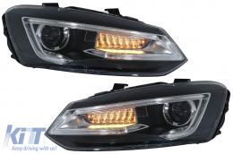 Headlights suitable for VW Polo MK5 6R 6C 61 (2011-2017) LED Light Bar Devil Eye Look RHD