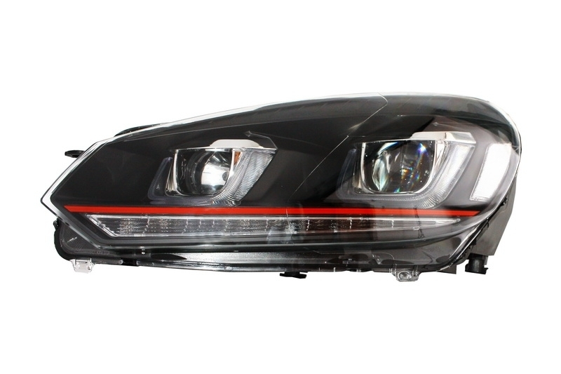 headlights vw golf 6 vi 08 13 3d led drl u g7 gti flowing. Black Bedroom Furniture Sets. Home Design Ideas