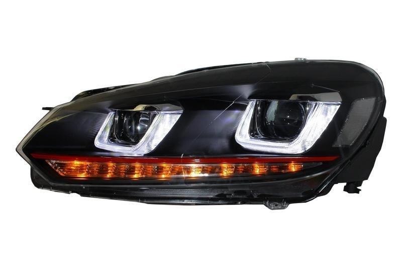 headlights for vw golf 6 vi 08 13 golf 7 3d led drl gti. Black Bedroom Furniture Sets. Home Design Ideas