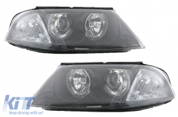 Headlights VW Passat 3BG (2000-2004) 2 Halo Rims Black