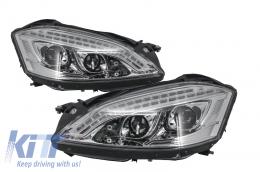 HID Xenon Headlights LED DRL Mercedes W221 S-Class (2005-2009) W222 Look Chrome - HLMBW221C