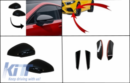 Kit Front Bumper Flaps Side Fins Flaps suitable for MERCEDES A-Class W177 V177 (05.2018-up) with Mirror Covers A35 Design Black Edition - COFBFOBW177FFOMC