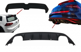 Kit Rear Bumper Air Diffuser ABT Look with Roof Spoiler GTI OETT Design suitable for VW Golf 7 VII (2013-2017) - CORDVWG7ABTG