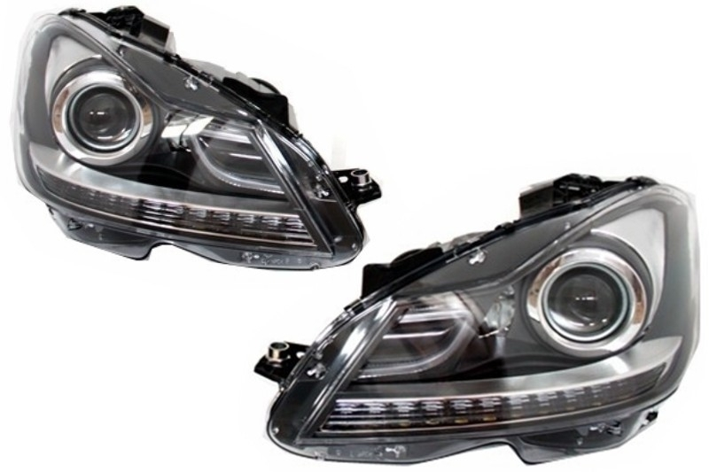LED DRL Headlights suitable for MERCEDES C-Class W204 Facelift (2011-2014)  Bi-Xenon