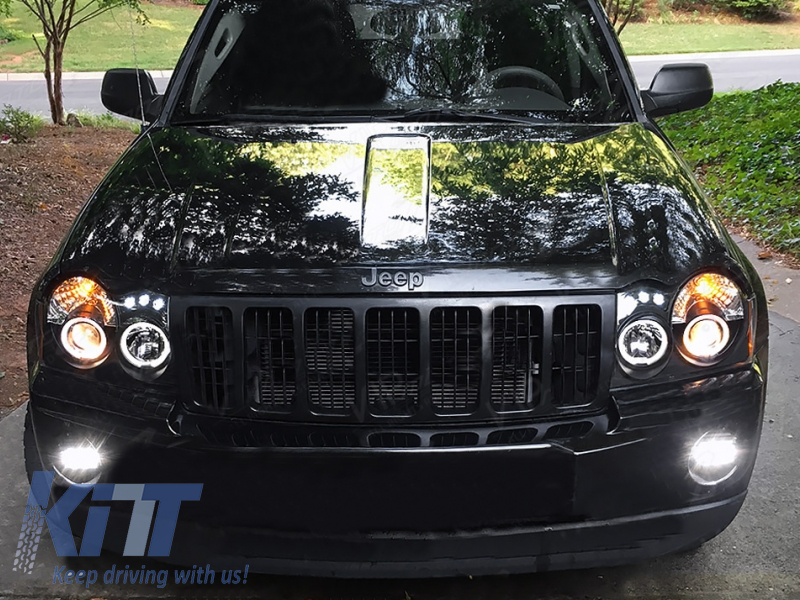 led headlights jeep grand cherokee wh 2005 2008 halo. Black Bedroom Furniture Sets. Home Design Ideas