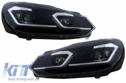 LED Headlights suitable for VW Golf 6 VI (2008-2013) With Facelift G7.5 Look Silver Flowing Dynamic Sequential Turning Lights LHD