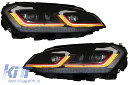 LED Headlights suitable for VW Golf 7 VII (2012-2017) Facelift G7.5 GTI Look with Sequential Dynamic Turning Lights