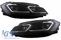 LED Headlights suitable for VW Golf 7.5 VII Facelift (2017-up) with Sequential Dynamic Turning Lights - HLVWG7F75S