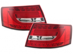 LED Light Bar Taillights suitable for Audi A6 Limousine 2004-2008 Red/Crystal Factory LED