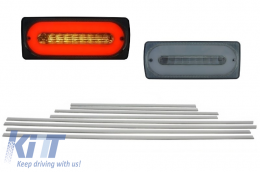 Led Taillights Light Bar Smoke Door Moldings Brushed Aluminum suitable for MERCEDES G-class W463 89-15 - COTLMBW463LBSDMS