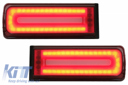 LED Taillights Light Bar suitable for Mercedes G-Class W463 (2008-2017) Facelift 2018 Design Dynamic Sequential Turning Lights Smoke Red