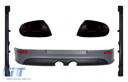 LED Taillights Smoke Black Dynamic Sequential Lights with Rear Bumper Extension and Side Skirts suitable for VW Golf 5 (2004-2007) Urban Style R32 Design - COCBVWG5SFWRBR32