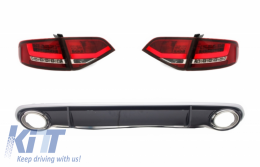 LED Taillights with Rear Diffuser and Exhaust Tips suitable for AUDI A4 B8 8K Saloon (2007-2010) Red / Clear RS4 Design - CORA14SLRCRD
