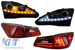 Lexus IS XE20 (2006-2013) Assembly LED DRL Headlights Dynamic Turn Light Signal with Taillights Full LED Red Clear Facelift XE30 Design - COHLLXIS200BRC