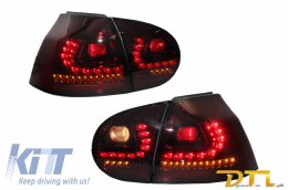 LITEC LED Taillights suitable for VW Golf 5 V (2004-2009) Red/Smoke with Dynamic Sequential Turning Light - RV16KLRSY