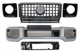 Mercedes Benz G-Class W463 (1989-2012) Front Bumper Assembly G65 AMG Look with Grille G63 GT-R Panamericana Design - COFBMBW463AMGGTRBHBB