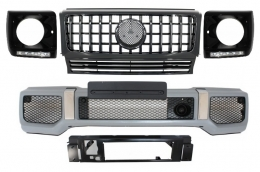 Mercedes Benz G-Class W463 (1989-2012) Front Bumper Assembly G65 AMG Look with Grille G63 GT-R Panamericana Design - COFBMBW463AMGGTRBHBC